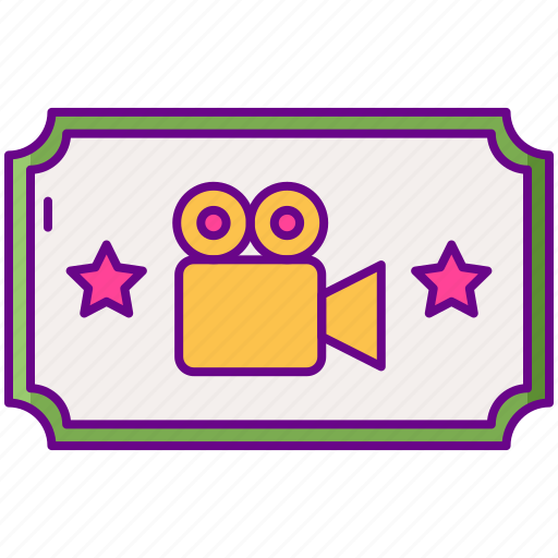 gamification, movie, ticket icon