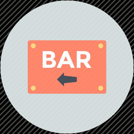 bar, bar direction, bar signboard, casino bar, drink bar icon