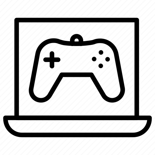 display, gaming, laptop, laptop gaming, online, play station icon