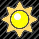 cartoon sun, daylight, light, rays, sun, sunlight, sunshine icon