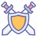 defend, fight, game, gaming, knight, shield, swords
