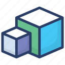 3d block, box shape, cube, hexahedron, square icon