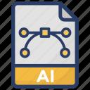 adobe illustrator, ai document, ai file, file illustrator icon
