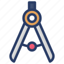 compass, divider, divider tool, drafting instrument, drawing compass, drawing tool icon