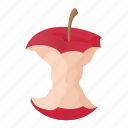 apple, cartoon, ecology, garbage, refreshment, stub, stump icon