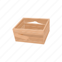 box, refuse, crate, rustic, broken, wood, cartoon icon