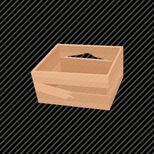 box, broken, cartoon, crate, refuse, rustic, wood icon