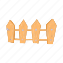 cartoon, design, element, farm, fence, picket, wooden icon