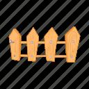 cartoon, design, element, farm, fence, picket, wooden