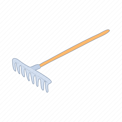 cartoon, farm, garden, gardening, hand, metal, rake icon