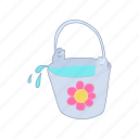 bucket, cartoon, container, flower, handle, wash, water icon