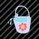 bucket, cartoon, container, flower, handle, wash, water