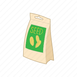 cartoon, organic, package, packaging, seed icon