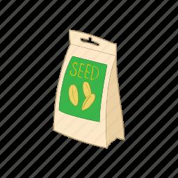 cartoon, organic, package, packaging, seed icon
