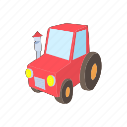 agriculture, cartoon, equipment, farming, field, red, tractor icon