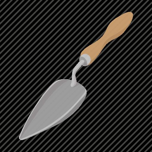 cartoon, garden, handle, isometric, shovel, spade, tool icon