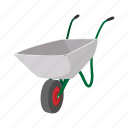agriculture, cart, cartoon, gardening, hand, metallic, wheelbarrow icon