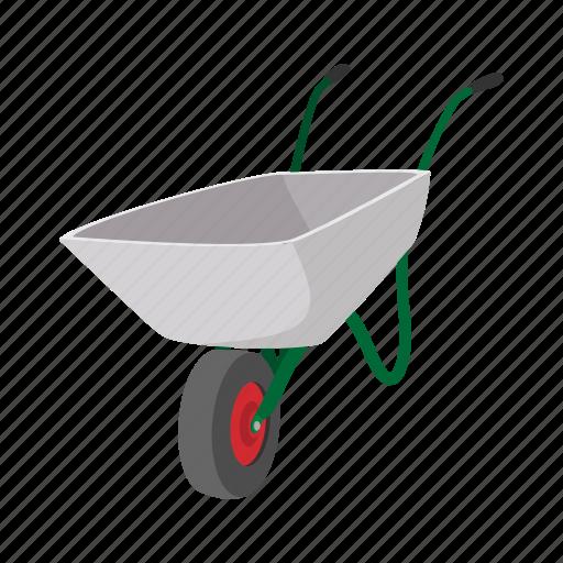 agriculture, cart, cartoon, gardening, hand, metallic, wheelbarrow icon