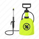 bug, cartoon, pest, raid, sanitation, spray, spraying icon