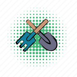 agriculture, comics, crossed, pitchfork, shovel, spade, tool icon