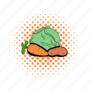 cabbage, carrot, comics, cooking, garden, potato, vegetables icon