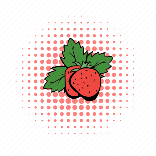 berrys, comics, design, fruit, leaves, red, strawberry icon