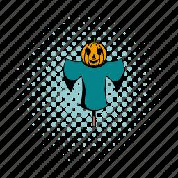 colorful, comics, cute, funny, hay, pumpkin, scarecrow icon