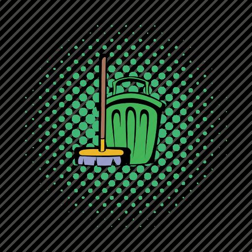 broom, bucket, cleaning, comics, gardening, market, minimal icon
