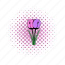 circle, comics, decoration, floral, flower, spring, tulips icon