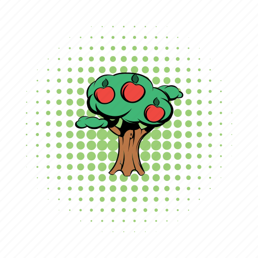 apple, brown, comics, fruit, nature, tree, wood icon