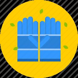 blue, garden, gloves, yellow icon
