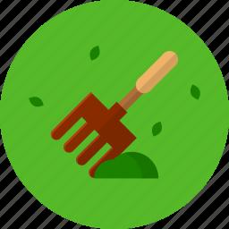 brown, garden, grass, rake icon