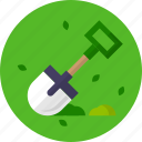 garden, grass, leaves, shovel icon