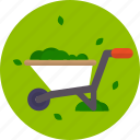 colorful, garden, grass, wheelbarrow icon