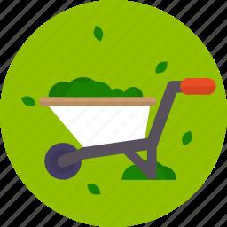 colorful, garden, grass, wheelbarrow icon