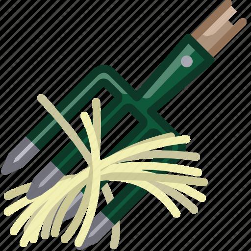 farm, garden, gardening, hay, pitchfork, tool, yumminky icon