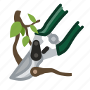 garden, gardening, pruning, scissors, tool, twig, yumminky icon