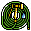 garden, hose, rubber, tool, water icon