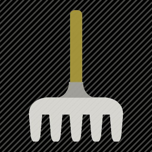 garden, gardening, metal, rake, tool, work icon
