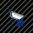 garden, wheelbarrow, tool, metal, ground, wheel, gardening icon