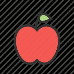 apple, apples, food, fresh, leaf, nature, red icon