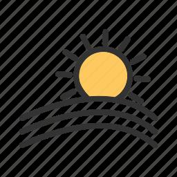 clouds, design, nature, rays, sky, sun, sunset icon