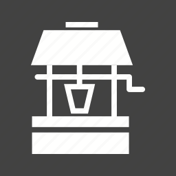 bucket, deep, desert, hole, old, water, well icon