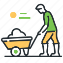gardening, garden, wheelbarrow, equipment icon