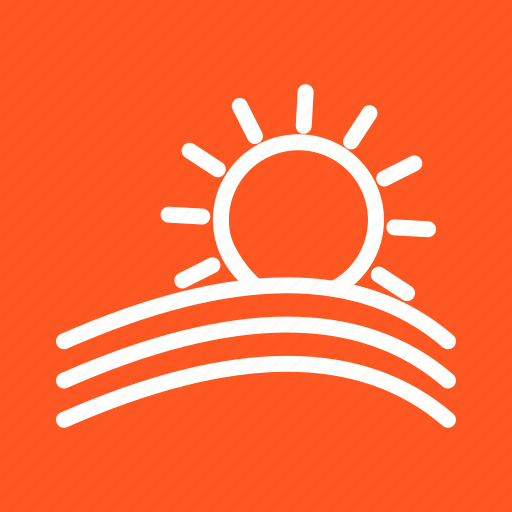 clouds, design, nature, orange, rays, sky, sun icon