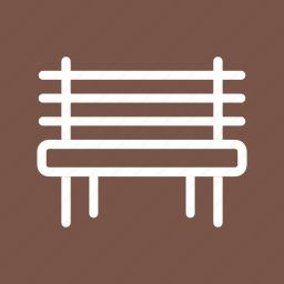 bench, garden, greenery, nature, outdoor, park, spring icon