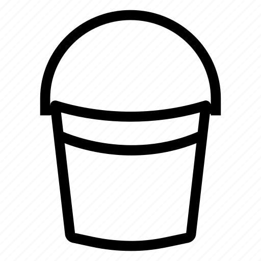 bucket, container, handle, paint, painter, plastic, water icon