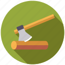 axe, equipment, garden, gardening, log, tool, wood icon