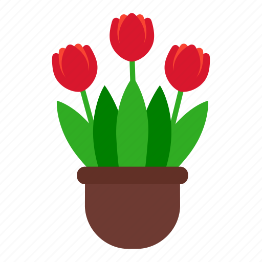 blossom, flowers, garden, leaves, nature, pot, tulip icon