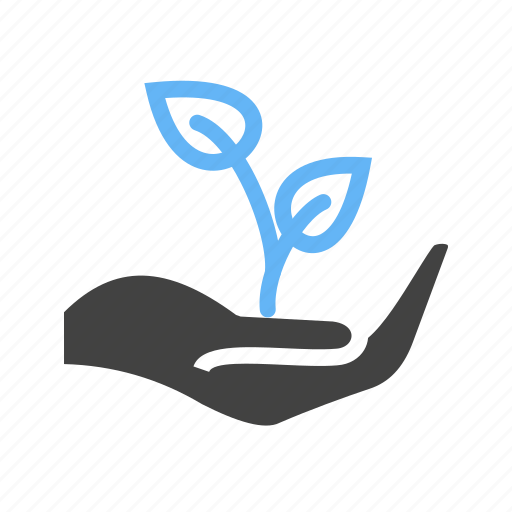 hand, leaves, plant, plantation icon